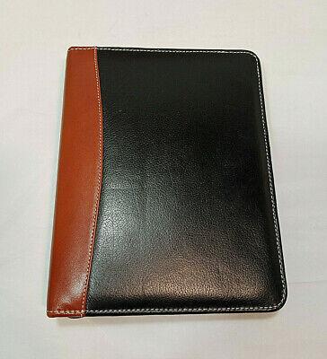 Franklin Quest Planner Binder Leather Black Brown Zip 7 Ring Organizer 10 X 8