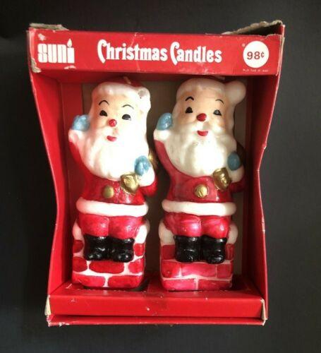"""2 Vintage Suni Japan Santa Christmas Candles 5.5"""" Original Box Unused"""