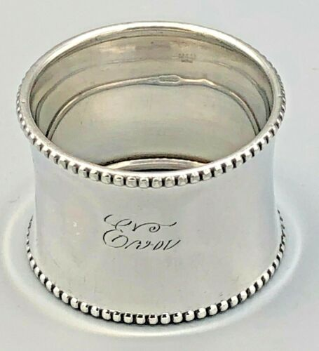 """Concave Beaded Napkin Ring 1.25"""" wide band, Gorham B2335, Sterling Silver"""