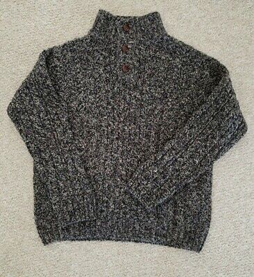LL BEAN Black Gray Brown 100% Wool Fisherman Cable Knit Ireland Sweater Mens L