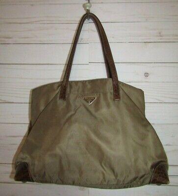 GUC Authentic Prada Vintage Brown Nylon and Croc Leather Double Handle Handbag