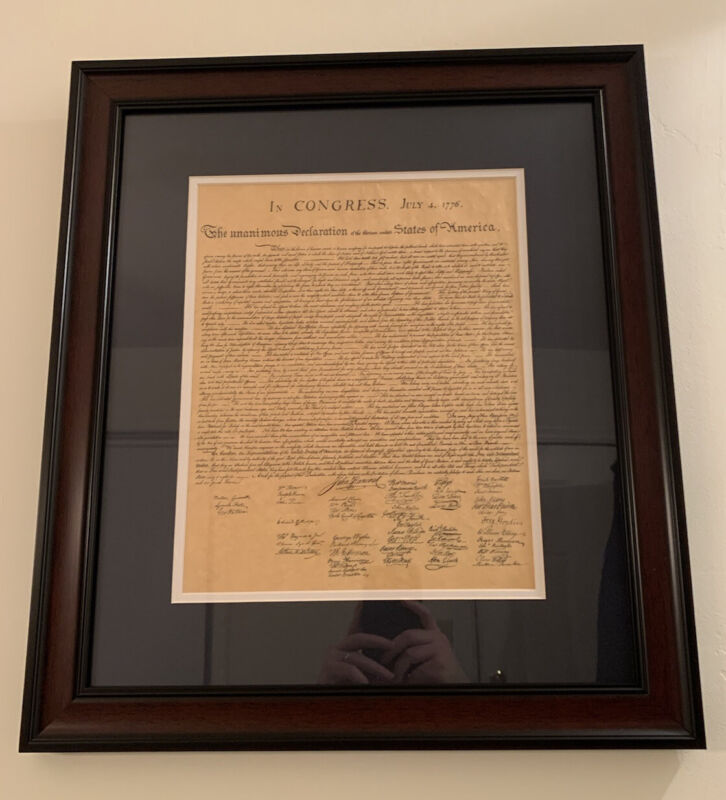 "The Declaration of Independence (replica) in elegant frame. 23.25"" x 20.5"" x 1"""