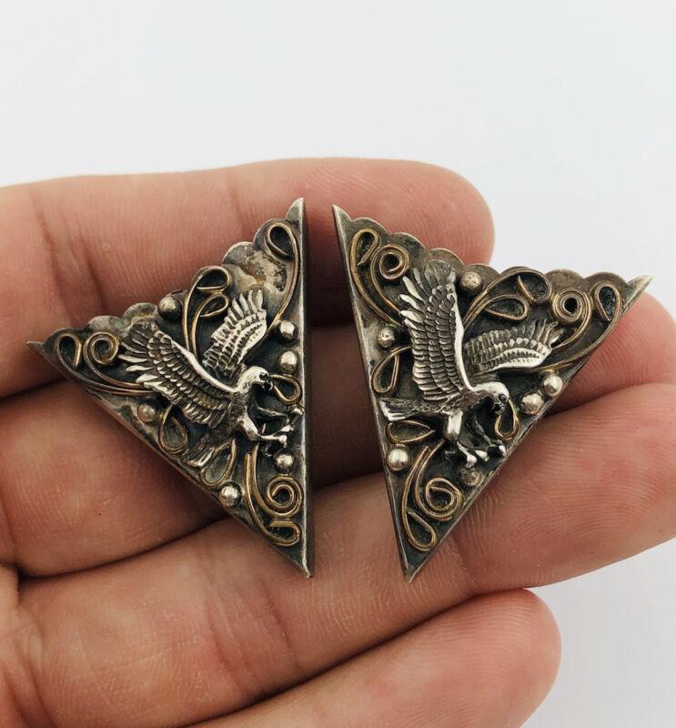 Vintage Southwestern Navajo Sterling Silver & Gold Flying Eagle Collar Tips
