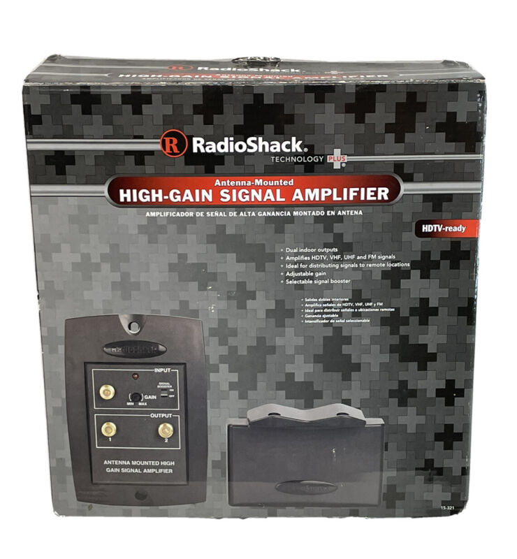 Radio Shack Antenna-Mounted High-Gain Signal Amplifier 15-321 Dual Outputs 📺