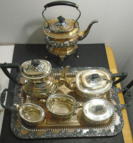 ANTIQUE ENGLISH SHEFFIELD SILVER PLATE COFFEE TEA SERVICE + FORBES SERVING TRAY