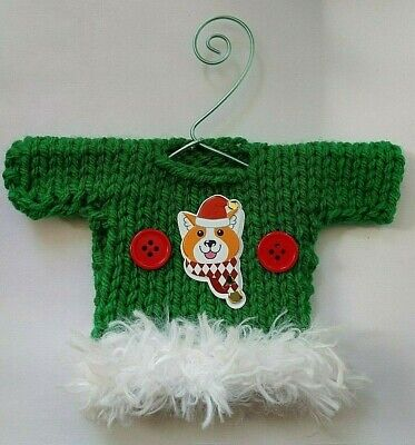 Green and White Dog Themed Mini Ugly Christmas Sweater   Ornament  ()