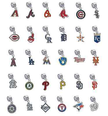Pick Your Team - MLB European Charms for Bracelet Dangle Baseball Beads](Baseball Beads For Bracelets)