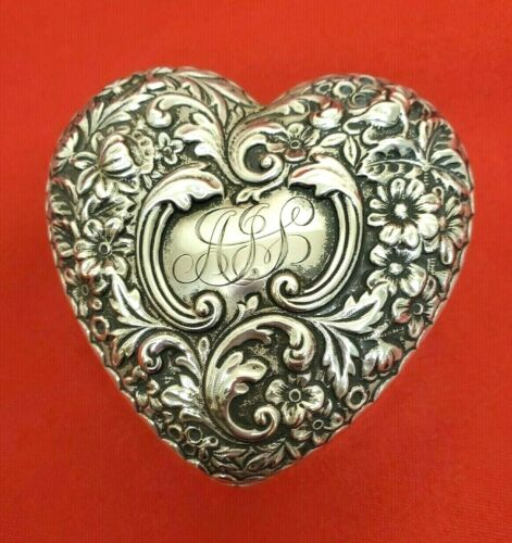 Sterling Repousse Heart Shape Ring Jewelry Trinket Box by Howard & Co.  11622