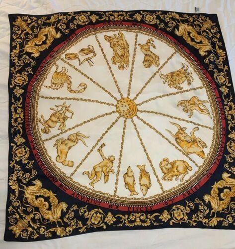 Elegant Vintage Rare Silk Scarf Sun & Signs of Zodiac Ann Taylor Horoscope 35x35