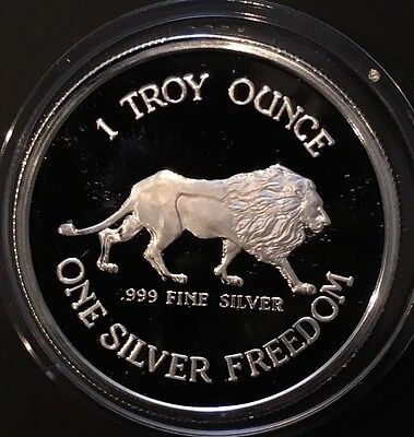 1984 Proof Lion   Coeur Dalene Mines 1 Troy Ounce  999 Fine Silver Freedom Coin