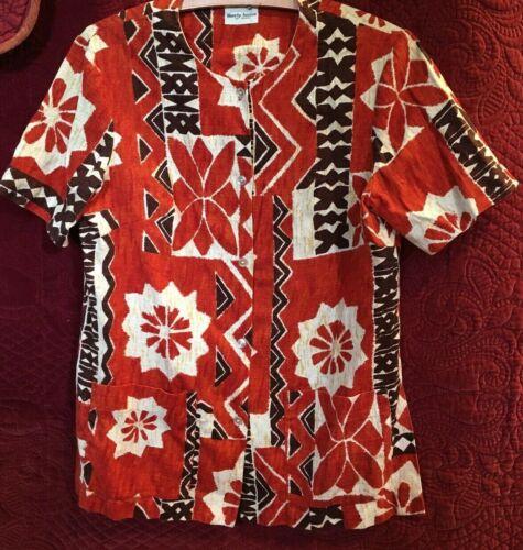 Vintage Liberty House of Hawaii Hawaiian Shirt Women Aloha Barkcloth Shirt Small