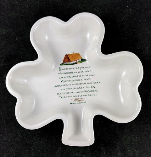 Irish Blessing Shamrock Dish By Russ Berrie Dishwasher Microwave Oven Safe
