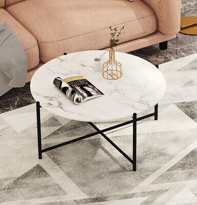 Modern Bohemian Nesting Coffee Table Set - Faux White Marble/Black - Metal Frame