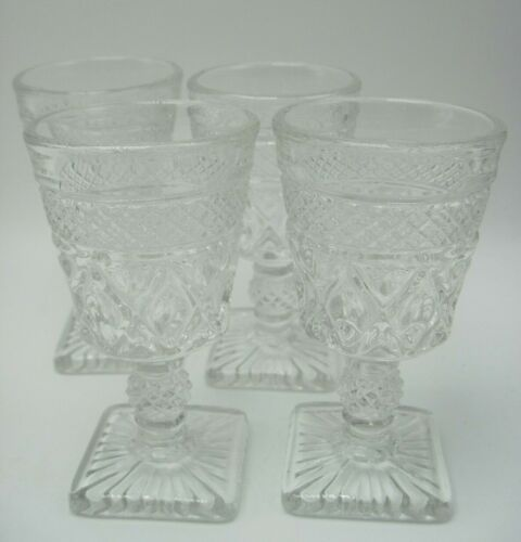 """Lot of 4 4 1/2"""" Vintage Imperial Cape Cod Clear Pattern Glass Wine Glasses"""