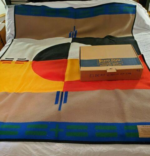 """Boxed Vintage Pendleton Elders Circle Of Life 64""""x80"""" Wool Blanket"""