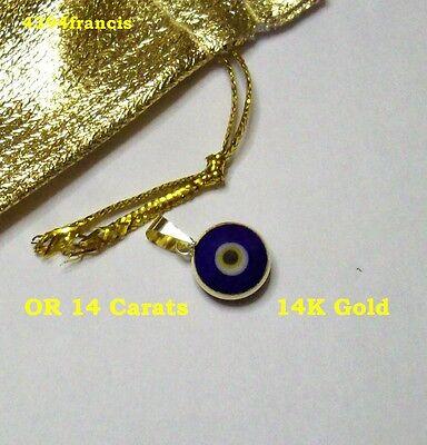 Magnifique Pendentif Talisman OEIL Protecteur OR 14 Carats Blue Eye 14K Gold