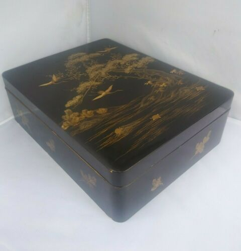 LARGE Antique Japanese Gold Lacquer Box