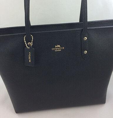 New Coach F58846 Crossgain Leather City Zip Tote Handbag Purse Bag Gold/Black