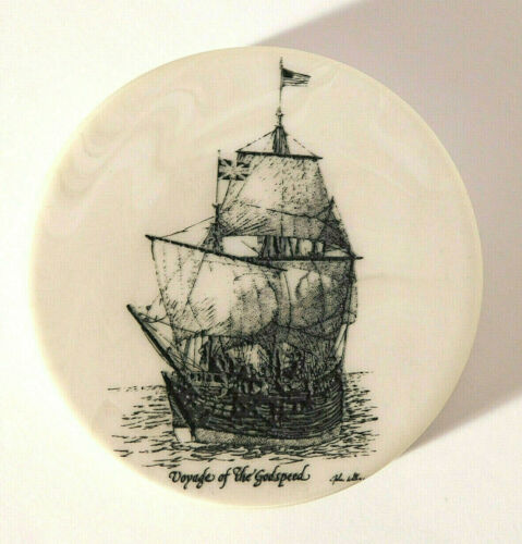 Vtg. Faux Scrimshaw Voyage of the Godspeed Paperweight Signed