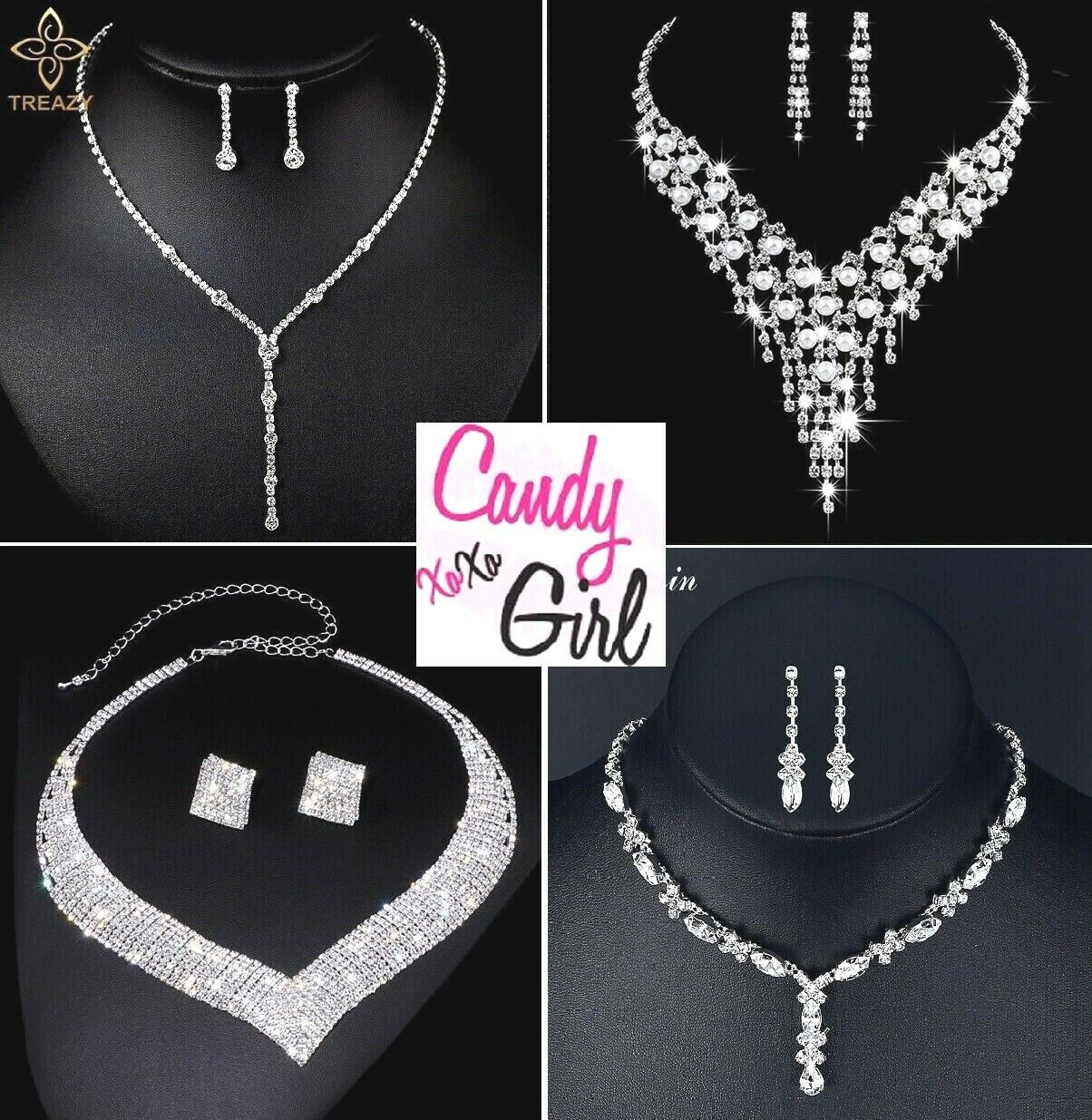 Jewellery - Stunning Crystal Diamante Evening Wedding Necklace And Earring Jewellery Sets