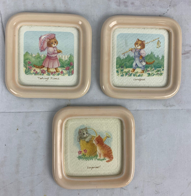 Vintage Hallmark Miniature Plaque Lot Watercolor Kitty Cat Pictures 1987
