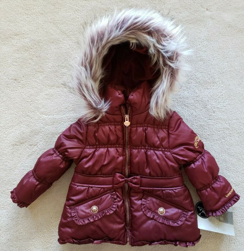 NWT Infant Girls LONDON FOG Burgandy  Faux Fur Hood Coat Size 12 Months