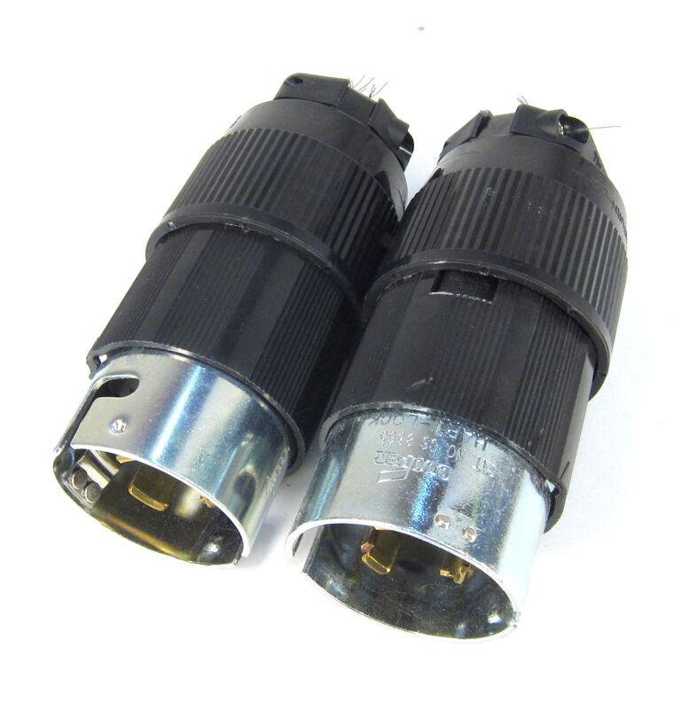 COOPER CS8365L 50A 250V MALE TWIST LOCK PLUG 3P 4W VERY NICE USED _ LOT OF 2