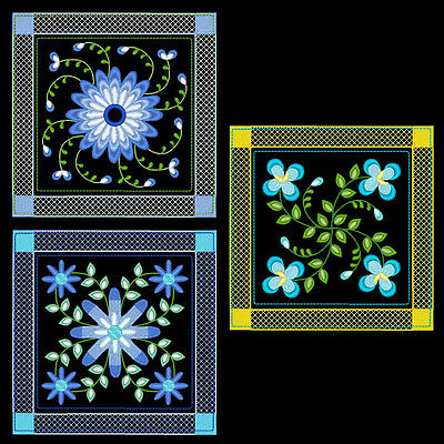 PRETTY FLOWER QUILT BLOCKS  - 30 MACHINE EMBROIDERY DESIGNS (AZEB)