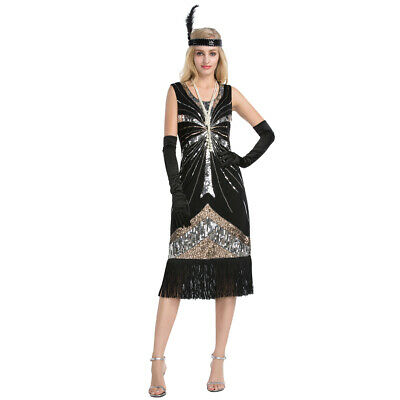 Women 1920s Flapper Tassel Sequin Dresses Fringed Great Gatsby Party Dress](Fringe Dress Flapper)