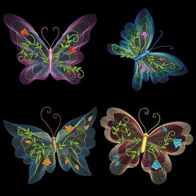 FLUTTERBY LUV 3 - 4 inch-10 Machine Embroidery Designs CD (FREE SHIPPING) ()
