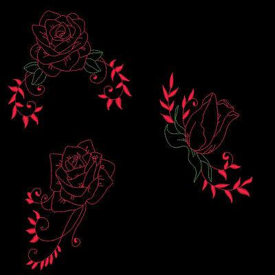 BEAUTIFUL REDWORK ROSES -5inch-10 Machine Embroidery Designs CD (FREE (Redwork Machine Embroidery Designs)
