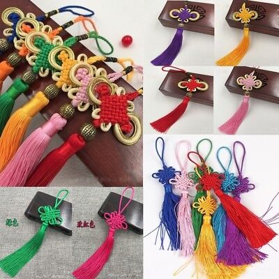 Chinese New Year Decor (Chinese New Year Satin Knot Tassel Feng Shui Lucky Charm Hanging Decor)