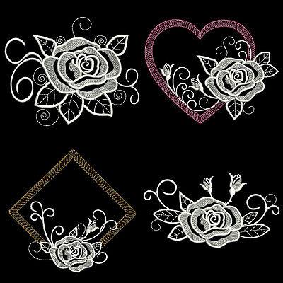 WHITE ROSE 4 INCH -  MACHINE EMBROIDERY DESIGNS (4INCH SIZE) AZEB