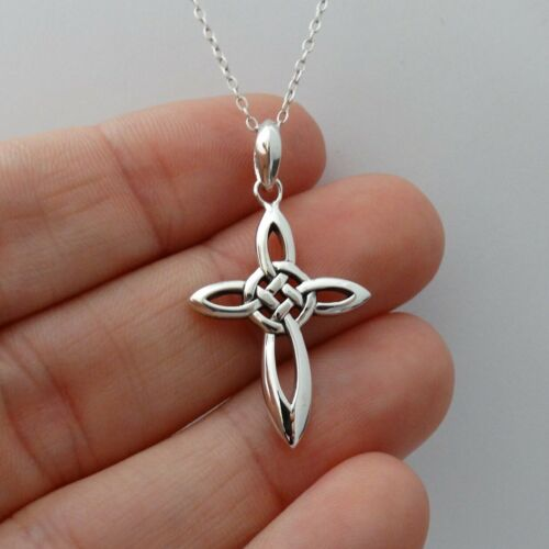 Infinity Celtic Knot Cross Necklace - 925 Sterling Silver-