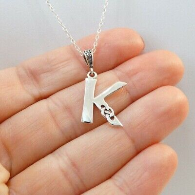 Celtic Knot Letter K Necklace 925 Sterling Silver Initial Pendant Gift Name NEW 925 Silver Celtic Knot