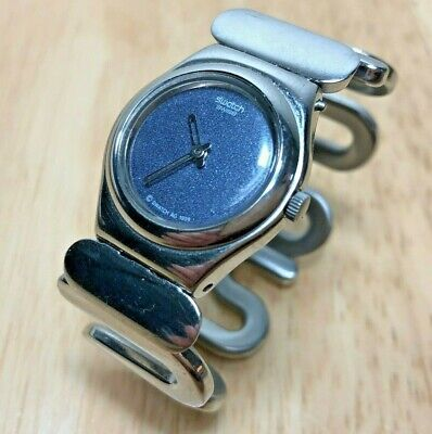 Vintage Swatch Swiss Lady Silver Cuff Bangle Analog Quartz Watch Hour~New Batter