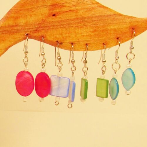 Wholesale Lot 20 PCS Assorted Shapes & Colors Handmade Shell Bead Drop Earrings