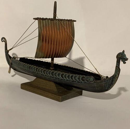 Edward Aagaard. Rare MINT Vintage Bronze Viking Dragon ship in ORIGINAL BOX.