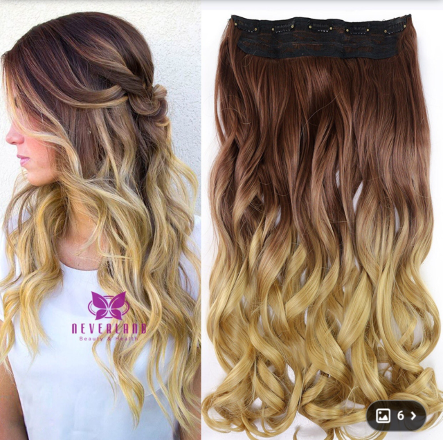 24 One Piece Clip In Ombre Colored Wavy Hair Extensions Two Tone