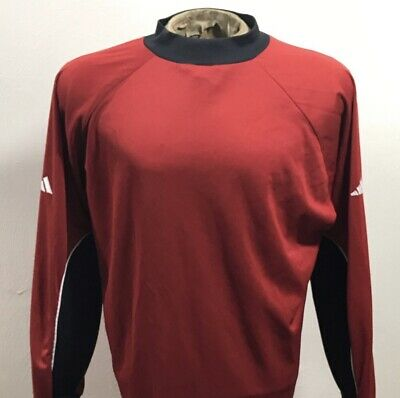 13b4c2633 VINTAGE 90 s ADIDAS GOALKEEPER SOCCER JERSEY RED PADDED LONG SLEEVE MENS  SIZE L.