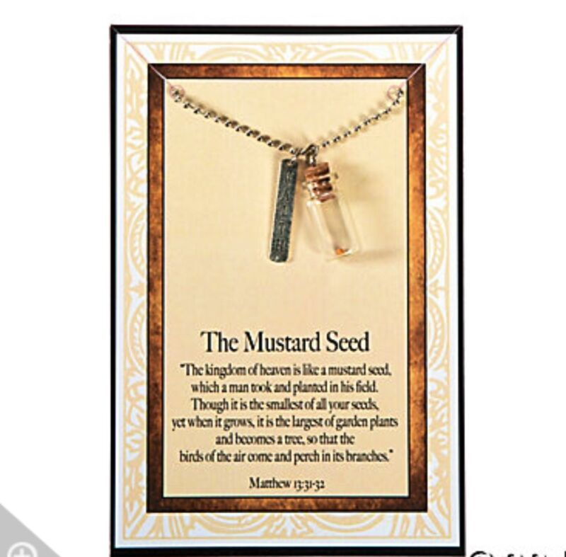 Inspirational Presentable and Elegant MUSTARD SEED NECKLACE with SCRIPTURE CARD