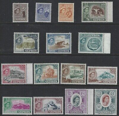 CYPRUS 1955 QEII Pictorial Set to £1 (15) Mint