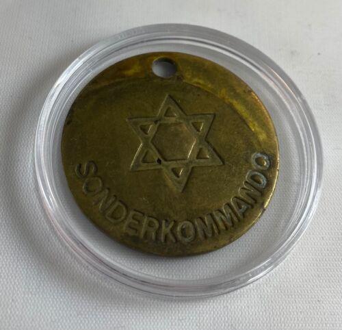 Jewish ID Tag Brass Concentration Camp Sonderkommando Medallion WW2 World War II