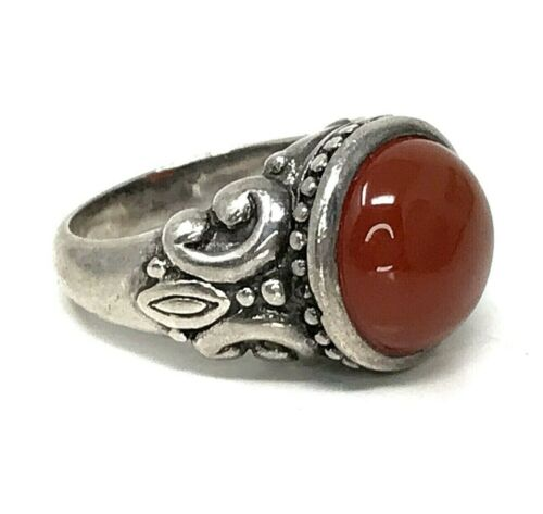 Vintage Sterling Silver 925 Carnelian Ring Round Cabochon Ornate Band Size 6