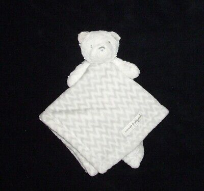 Blankets and Beyond Grey White Zigzag Chevron Bear Baby Blanket Security Lovey