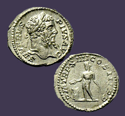 Archaios   Denarius Septimius Severus Genius Sacrificing Over Altar   (Sacrificing Over Altar)