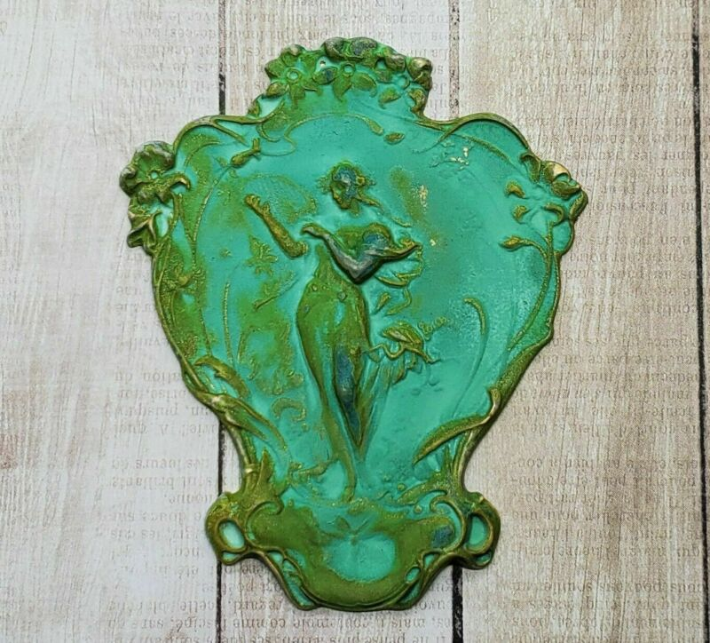 Large Verdigris Patina Angel With Harp Flowers Dragonfly Stamping (1) - VPFF1325
