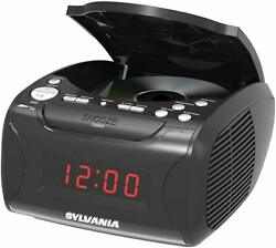 New Sylvania Alarm Clock AM/FM Radio CD Player USB Charger AUX-IN Battery Backup