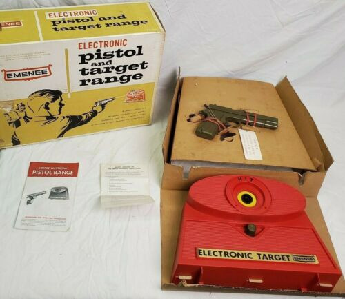 RARE 1963 EMENEE ELECTRONIC PISTOL & TARGET RANGE #2905 MIB Mint In Box Play Set