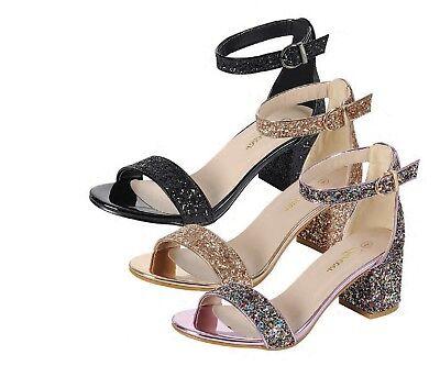 New Encrusted Glitter Open Toe Ankle Strap Mini Chunky Med High Heel Pump Sandal Ankle Strap Mini Heels